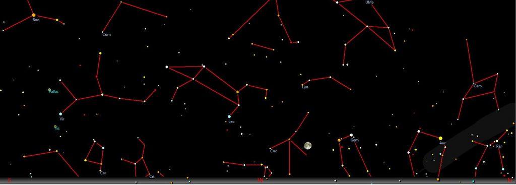 Stellung des Mondes gegen Ende der MoFi um 07:00