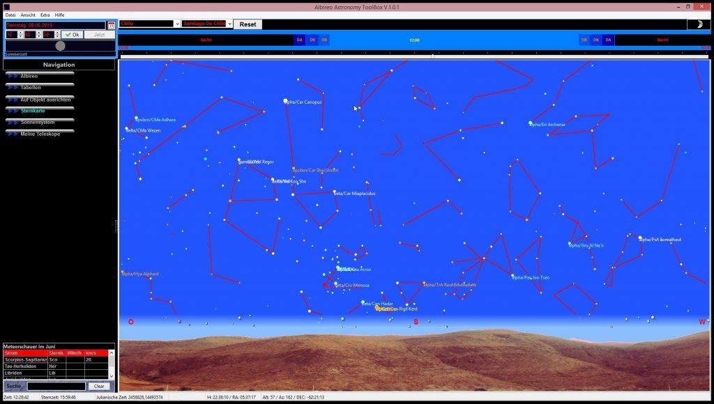 Kompletter visueller nördlicher UND südlicher Sternenhimmel mit anpassbaren Horizonten  Complete visual stars of the northern AND southern hemisphere