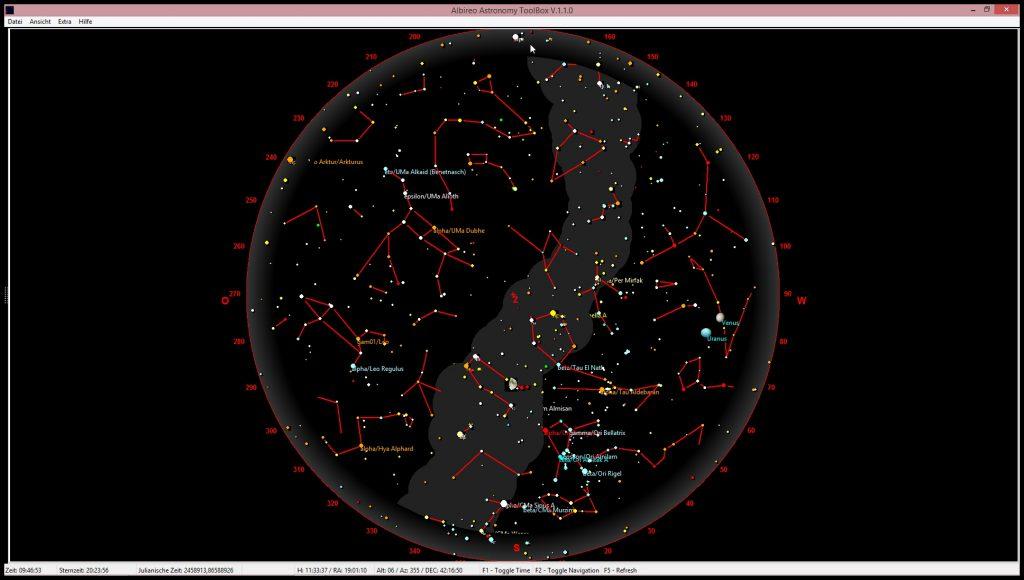Himmelskarte 4. März 2020 am Abend