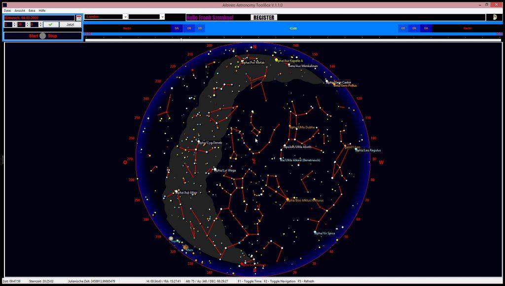 Himmelskarte 4. März 2020 am Morgen